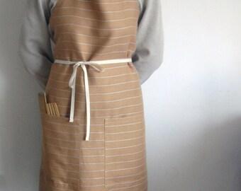 Linen Apron, full apron,beige linen apron, striped linen, natural linen apron, kitchen, ready to ship, natural apron, linen, cooking apron