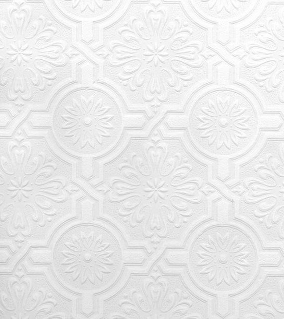paintable wallpaper embossed nazareth ornate tiles floral