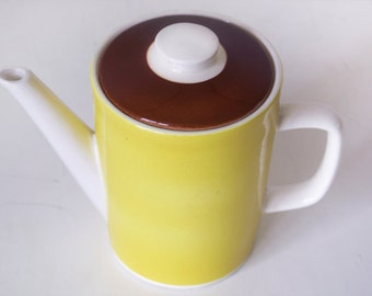 Vintage teapot citrus yellow and chocolate brown