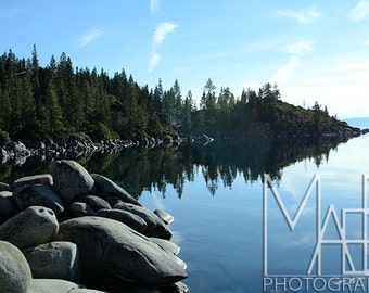 Lake Tahoe Photography 8x10 Fine Art Landscape Nature Photograph of Lake, Shoreline, Trees, Rocks, and Reflection in Water