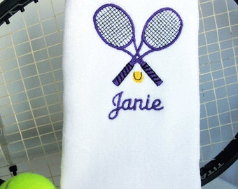 "Tennis Gift - Personalized Tennis Towel -  ""Crossed Tennis Racquets in Purple"" #078"