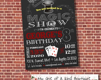 Magic Show invitation birthday party invite magician show digital printable invitation 13428