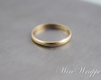 14k SOLID Yellow Gold Wedding Band Ring 2mm Shiny Minimalist
