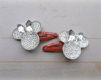 Two Minnie Mouse Jewels on Mini Snap Clips in Red Pink White or Black (Customizable Colors)