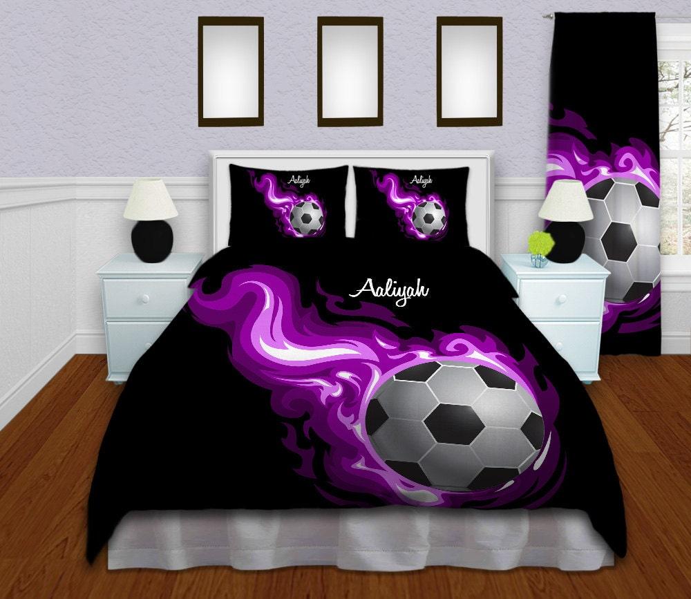 Purple Flames Soccer Comforter Queen Twin By
