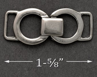 "Silver Metal Buckle Closure, Metal Chain, Metal Connector, Shoe Buckle, 1-5/8""W, 3/8"" for strap, SP-2176"