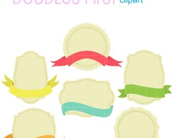 Label Design Set Digital Clip Art for Scrapbooking Card Making Cupcake Toppers Paper Crafts