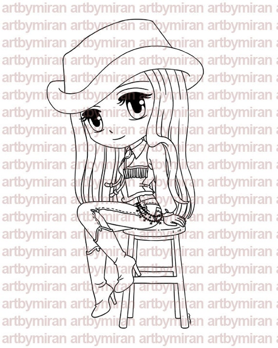 Digital Stamp - Cowgirl Bonnie, Digi Stamp, Coloring page, Printable Line art for Card and Craft Supply