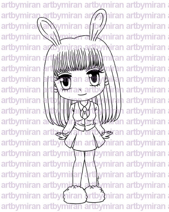 Digital Stamp - Honey Bunny, Digi Stamp, Coloring page, Printable Line art for Card and Craft Supply
