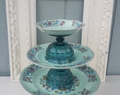 3 tier london blue glass and blue floral ceramic dessert - cake - cupcake stand