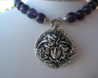 Amethyst Medusa Necklace