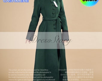 Sea Green Cashmere Wool Coat with Stand Collar and Lace Details - Contrast Color Wool Coat - Green Aline Wool Coat - Long Cashmere Coat -BC5
