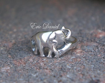 Elephant Ring Sterling Silver, Yellow or Rose Gold, Elephant Ring, Elephant Jewelry, Animal Ring, Silver Elephant, Gold Elephant