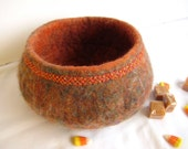 Halloween Thanksgiving wet felted wool bowl, beading and embroidered edge, medium size autumn colors