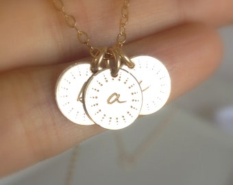 Personalized Gold Charm Necklace - Gold Initial Necklace - Mommy Charm Necklace - Petite Gold Discs - Mommy Necklace