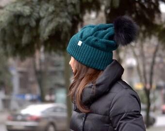 Green knit hat, Dark green knit beanie, Fur pompom hat, Knitting hat fur pompom, Knitted hat for womens, Winter womens knit hat