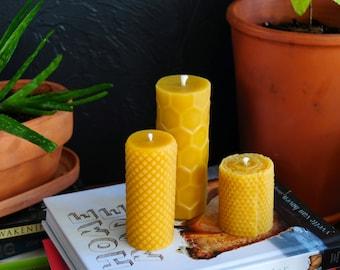 100% Pure Beeswax Candle Pillar Gift Set: 1 Honeycomb Pillar, 1 Diamond Pillar, and 1 Hand-rolled Pillar, Nontoxic, Unscented, Natural
