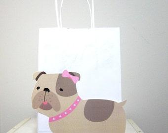 Girl Bulldog Goody Bags, Bulldog Favor Bags, Bulldog Party Favor Bags, Puppy Dog Party Favor, Goody, Gift Bags - Girl Bulldog