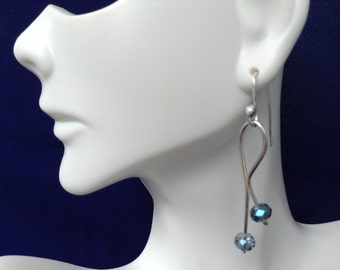Sky blue crystal and silver earring