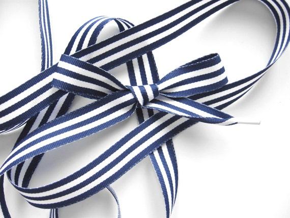 Striped Shoe Laces Navy White