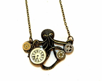 Steampunk Octopus Pendant, Steampunk Necklace, Octopus Necklace Steampunk Jewelry Clock Jewelry Tentacles Nautical Jewelry Gears Watch Parts