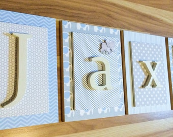 Nursery Letters, Boys Nursery Letters, Hanging Wall Letters, Personalized Letters, Wood Letters For Nursery, Elephant Nursery,  Baby Letters