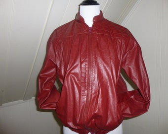 Vintage Leather Bomber Jacket Size 9/10 / Harmal New York Red Burgundy 1970s