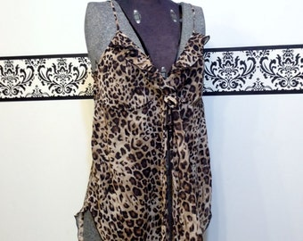 1980's Cheetah Print Baby Doll Chiffon Nightie Large / XL by Inner Most, Plus Size , Vintage Negligee, Pin Up Lingerie , Leopard Print Teddy