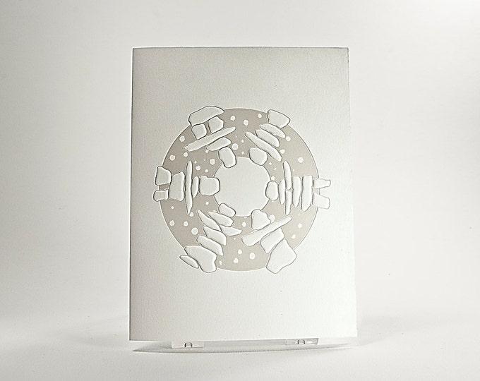 Inukshuk Dance. Holiday Card. Christmas card. Embossed. Letterpress. Foil. Notecard. Single card. Blank inside.