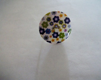 Floral mother of pearl button adjustable ring