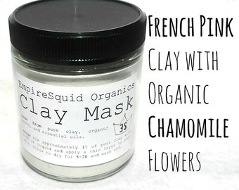 French Clay Mask with Organic Chamomile - Pink Clay Mask - Kaolin Clay - Natural Clay Mask - Organic Facial Mask - Clay Facial Mask