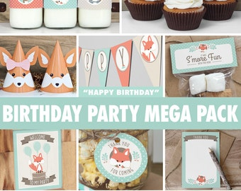 Woodland Birthday Party Mega Pack // INSTANT DOWNLOAD // Mint & Coral Birthday Decorations // Deer Fox Raccoon // Printable BP03