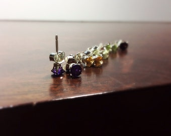 Jewelry - Earrings - Silver Studs with Amethyst