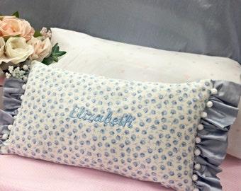 Girls Blue Name Pillow, Personalized Girls Pillow, Kids Nap Pillow, Blue Silk Pillow, Personalized Baby Gift, Keepsake Pillow, Girls Room