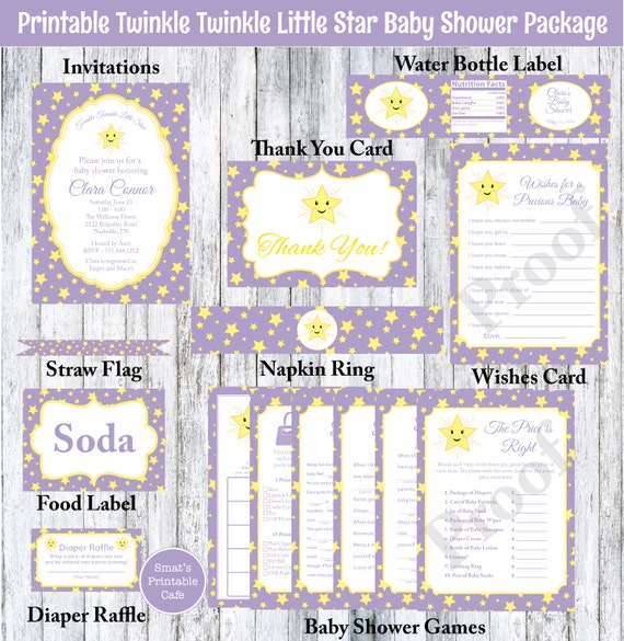 purple twinkle twinkle little star baby shower package printable