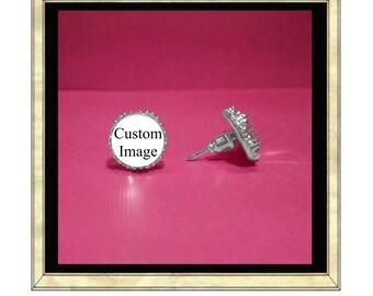 Custom Image Earrings - Silver Plated Earrings