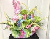 Ready To Ship! Raz Easter Bunny Arrangement, Rabbit Centerpiece, Rabbit Table Decoration, Spring Table Decor, Easter Basket, Housewares