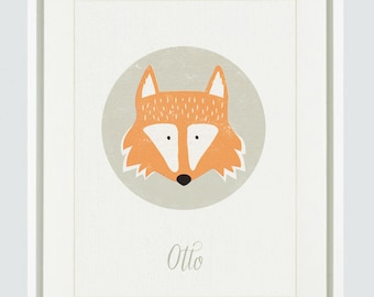 Customisable Kids Poster - Custom Name Print - Kids Fox Print - Nursery Decor - Custom Lettering - Fox Art Print - Baby & Children's Art