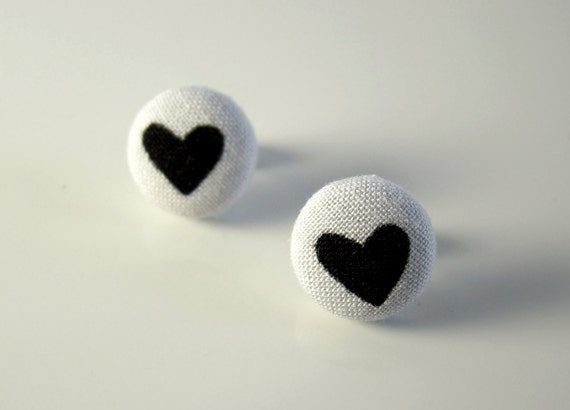 Black Heart Button Earrings Valentine Earrings Black Heart Earrings Fabric Button Post Earrings Valentines Gift