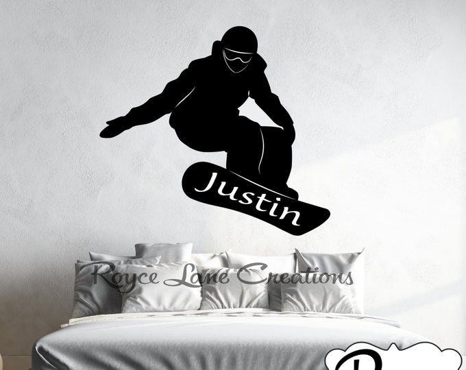 Snowboard Decal Snowboarder with Personalized Name Sports Vinyl Wall Decal Boys Room Teen Boy Room Decor Wall Art- Snowboard Wall Decal