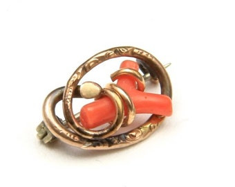 Vintage Small Art Deco Red Branch Coral & Gold Metal Pin Brooch
