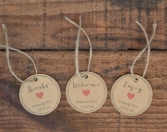 Thanks, Welcome & Enjoy Wedding Favour Tags ~ PDF