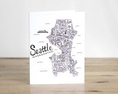 Seattle Illustrated Map. Blank Card. 100% Percent Recycled Paper.