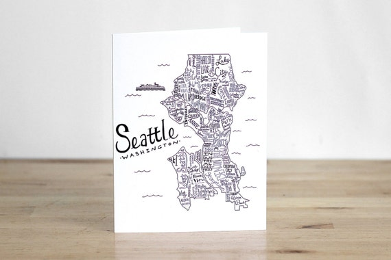 Items similar to Seattle Illustrated Map Blank Card 100 Percent