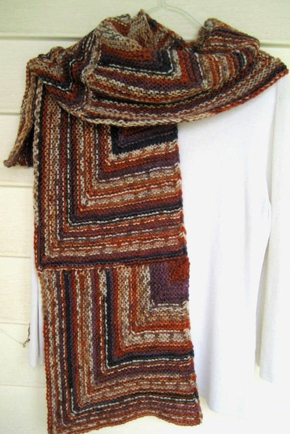 Items Similar To Knitted Wool Scarf Brown And Purple