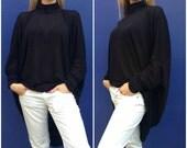 "Black Oversized  Tunic, Loose Women Caftan , Casual Maxi Shirt  Top  - ""LAZY MOON"" / Express Shipping / MD 10027"