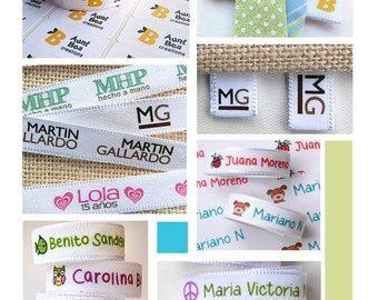 Custom Clothing Labels + stickers FREE !  3 YARDS + 60 stickers Custom Fabric Label Tag, June 15% OFF