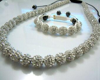 White With Clear Rhinestone Shamballa Jewelry Set, Long shamballa necklace,Shamballa bracelet, Statement Necklace