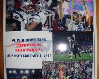 New England Patriots 28 Seattle Seahawks 24  - Super Bowl 2015 - souvenir print