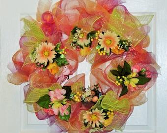 Spring Deco Mesh Wreath, Easter Wreath, Spring Flower Wreath, Bird's Nest Wreath